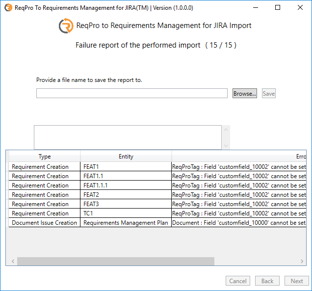 Failure report of the performed import