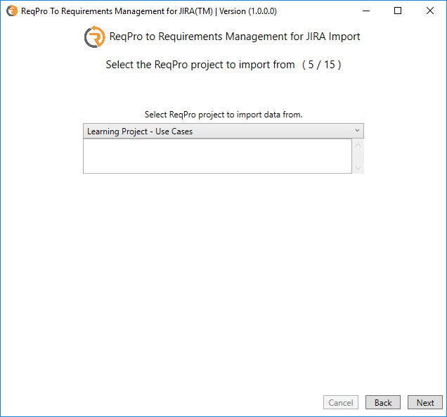 Select the ReqPro project to import from